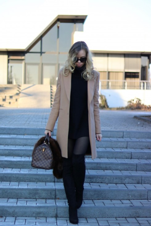 Outfit - Camel, Fur & Louis Vuitton