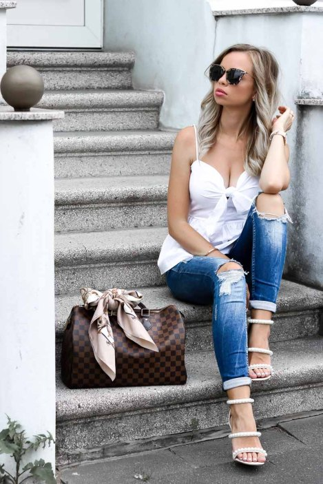 Summer-Streetstyle-Louis-Vuitton-Speedy-Pearl-studded-Heels-denim-peplum-top-tie-14