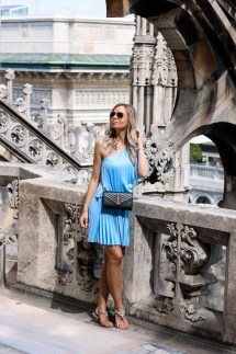 Outfit, Baby Blue Pleated Summer Dress on top of Duomo in Milan