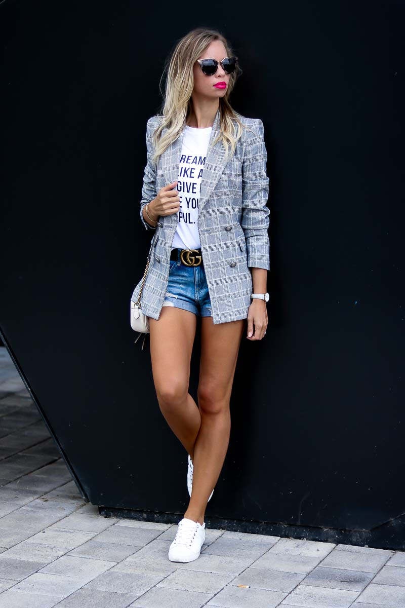 Casual Summer Outfit with Blazer and denim shorts