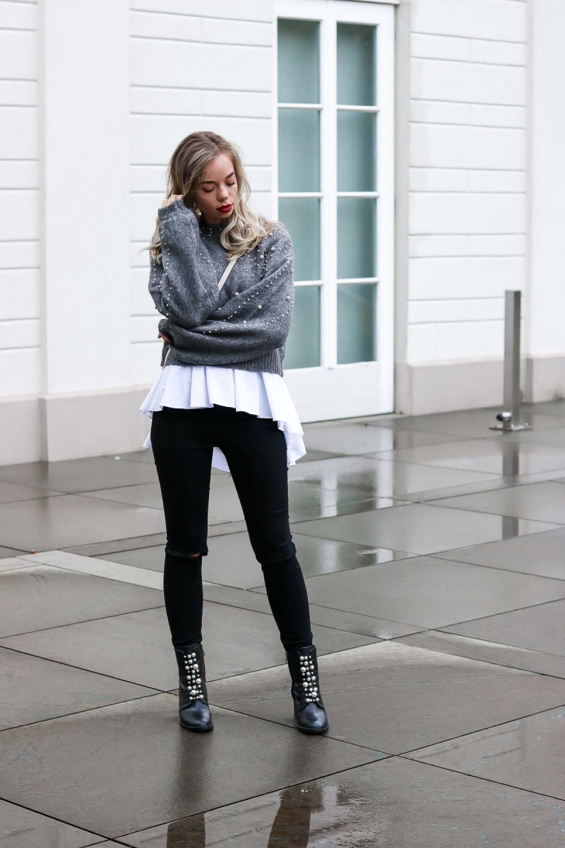 Outfit Shootings - Zara Pearl Jumper, Pearl studded Boots, Gucci Marmont