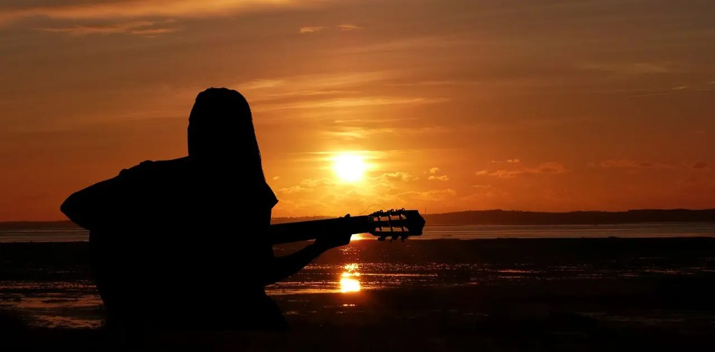 sunset, woman, singer
