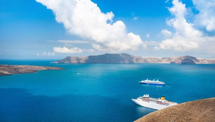 The beautiful islands near Santorini: Anafi, Naxos, Mykonos, Milos.
