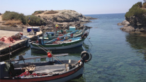 Ile du Gaou six fours les plages face a ile des embiez dans le var bateaux pecheurs