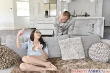 Nickey Huntsman screwing in the sofa with her natural melons in I Have a Wife