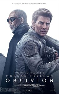 """Movie poster for """"Oblivion"""", starring Tom Cruise and Morgan Freeman."""