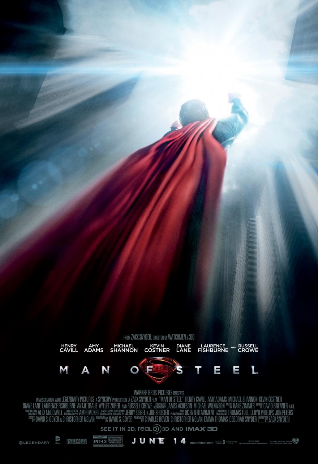 "Theatrical poster for ""Man of Steel"", starring Henry Cavill and Amy Adams."
