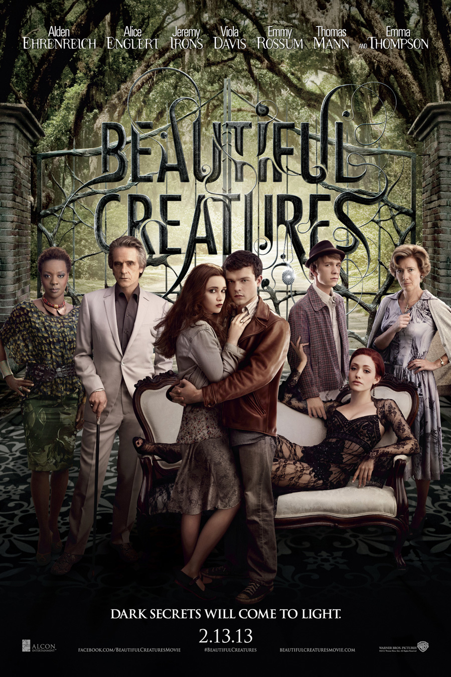 "Theatrical poster for ""Beautiful Creatures"", featuring the main cast."