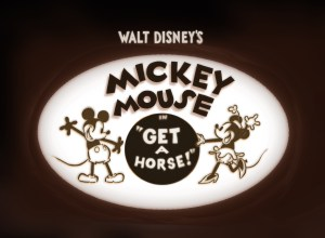 "Title screen from ""Get a Horse!"" short film from Disney."