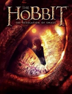 "Poster from ""The Hobbit: The Desolation of Smaug "" featuring Bilbo Baggins the burglar reflected in Smaug's eye."