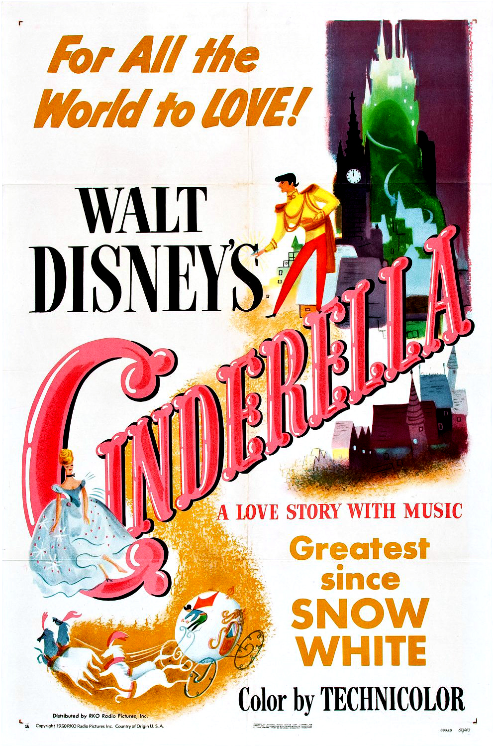 """Poster for the 1950 animated classic """"Cinderella""""."""