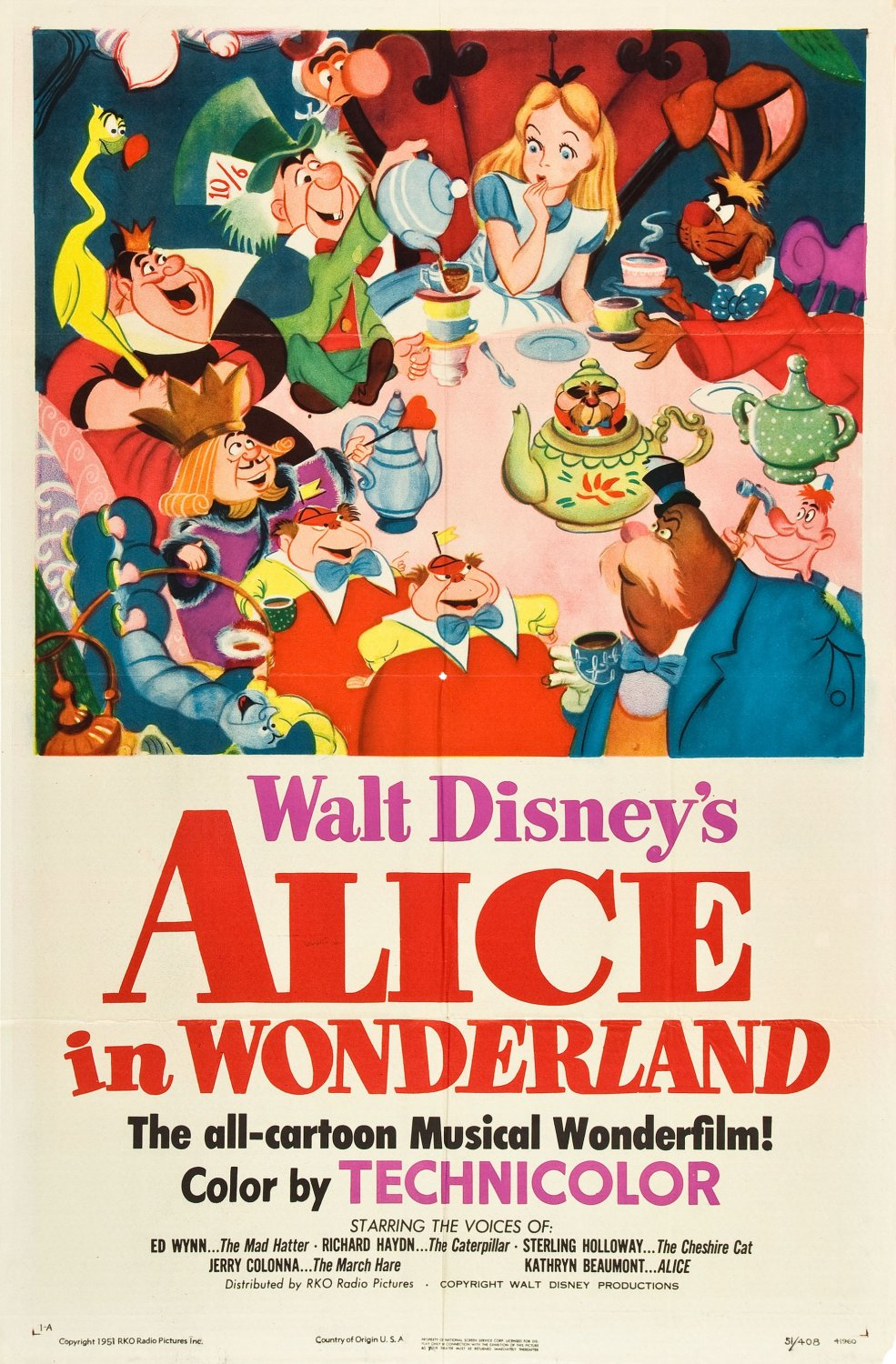 "Original theatrical poster for ""Alice in Wonderland""."