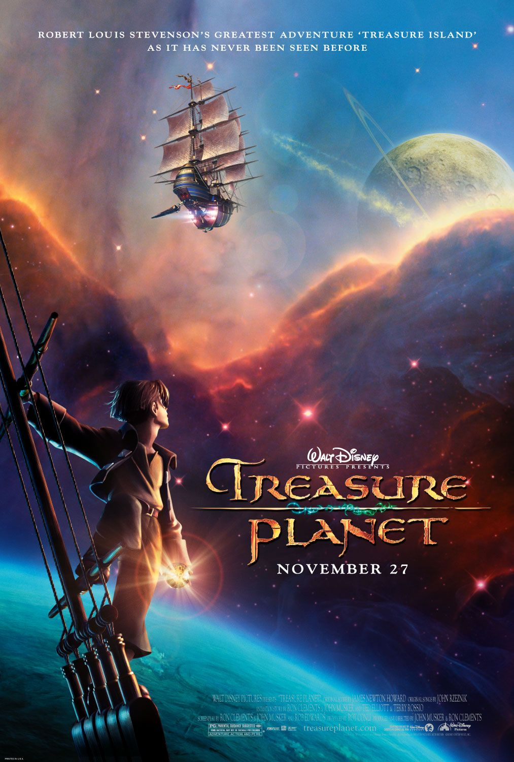 """Theatrical poster for """"Treasure Planet"""" from Disney Animation Studios."""