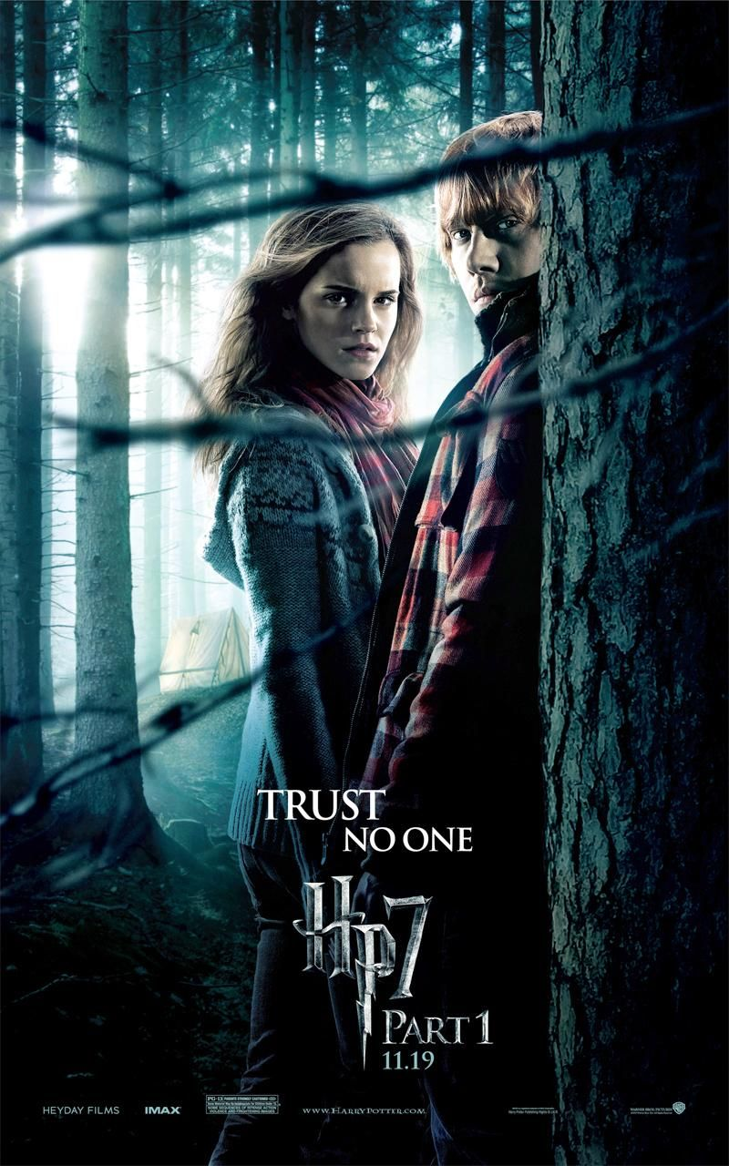 """Harry Potter and the Deathly Hallows Part 1"" theatrical teaser poster with Hermione and Ron."
