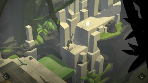 """Lara Croft Go"" screenshot 1 showing Lara doing a handstand."