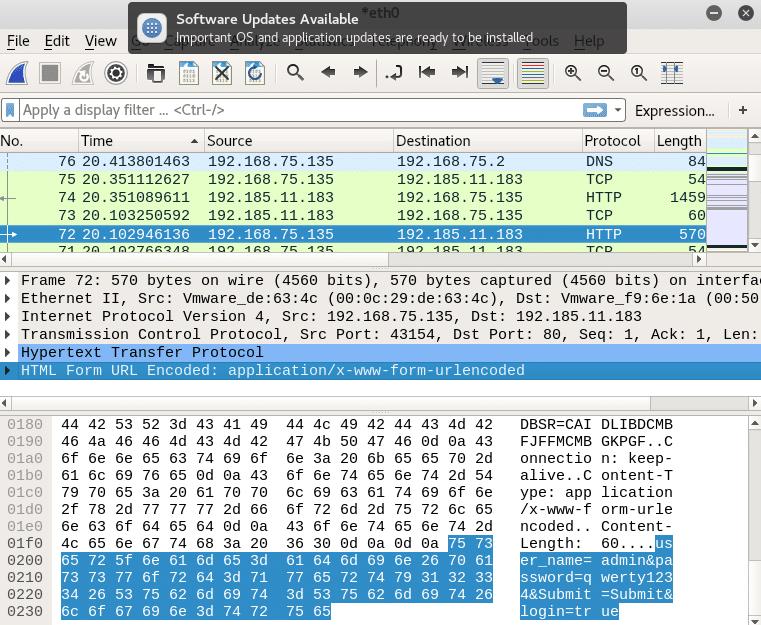 Przechwycony nieszyfrowany pakiet zawierający dane uwierzytelniające