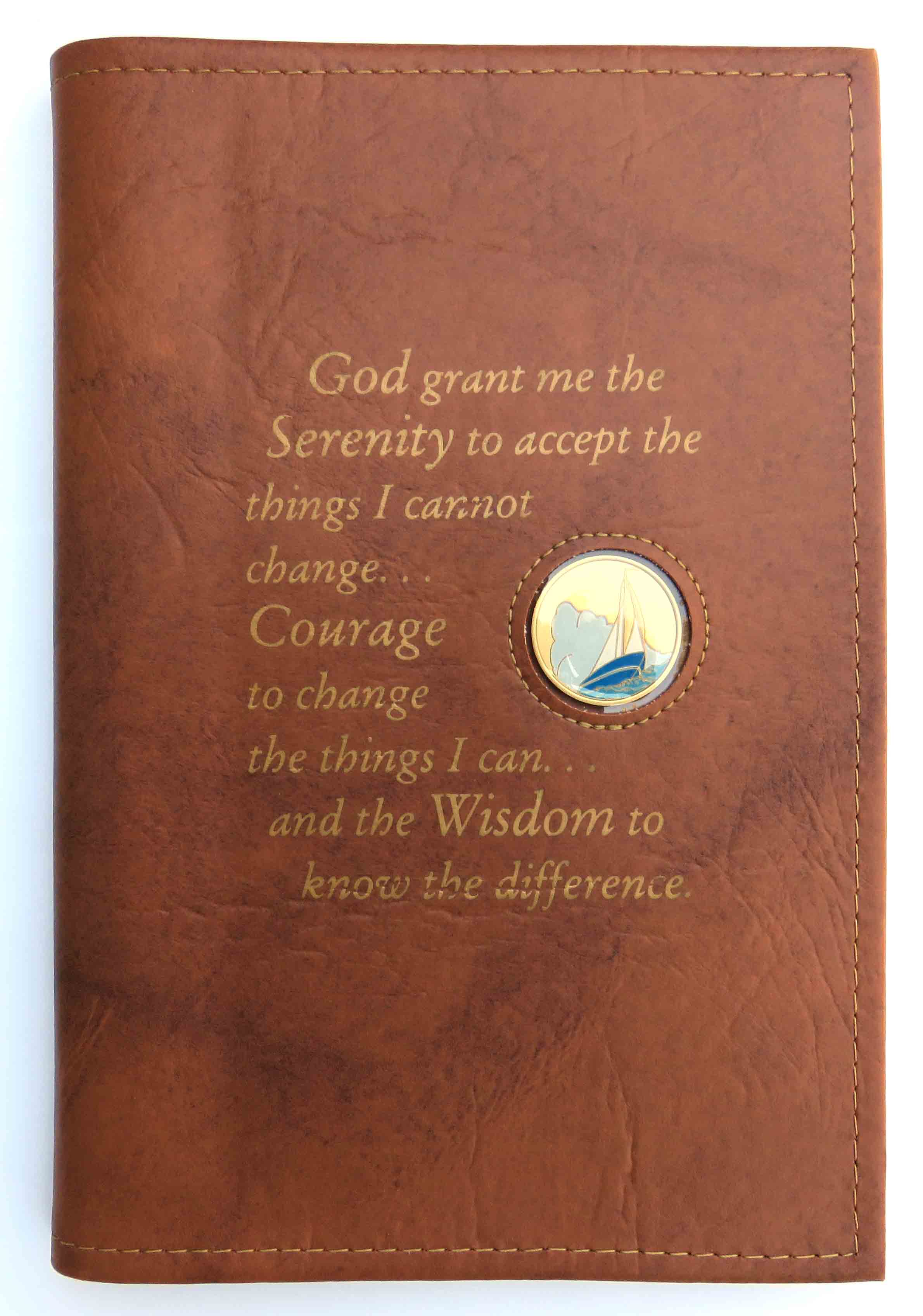 Large Print 12x12 Serenity Prayer Book Cover Tan
