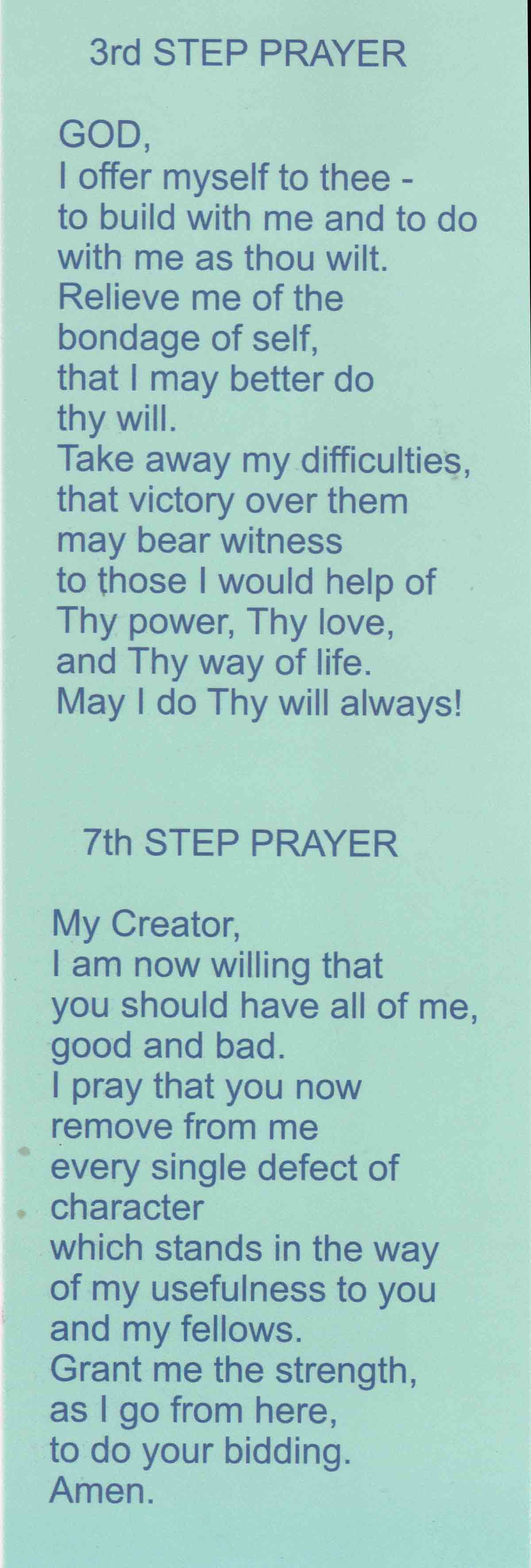 3rd And 7th Step Prayer Bookmark