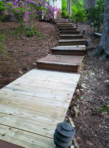 Repair of decking staircase