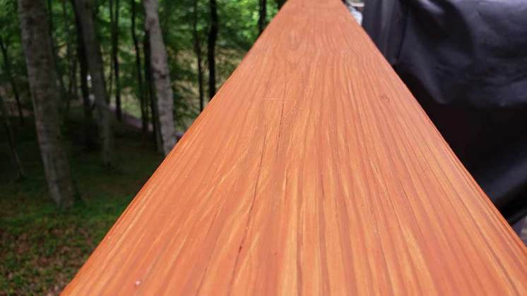Fresh Stained old Deck Railing made new