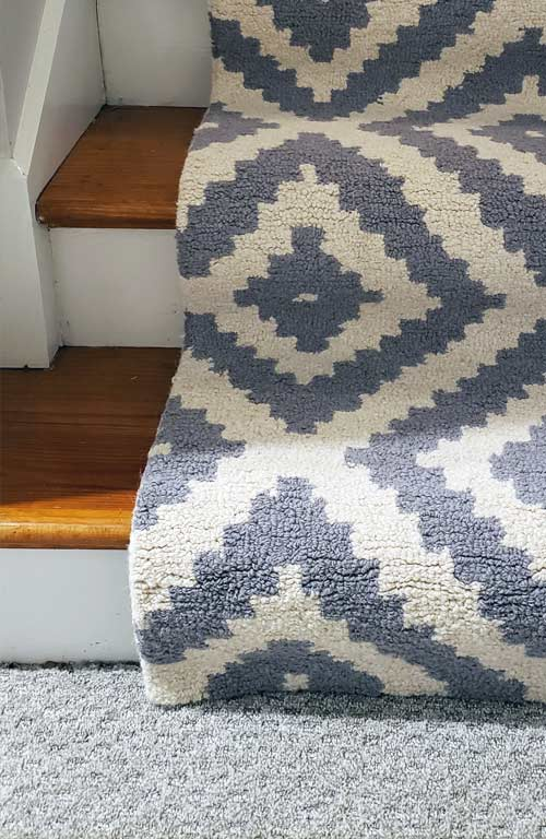 Staircase Runner Contemporary Wool installed bottom stairsjpg