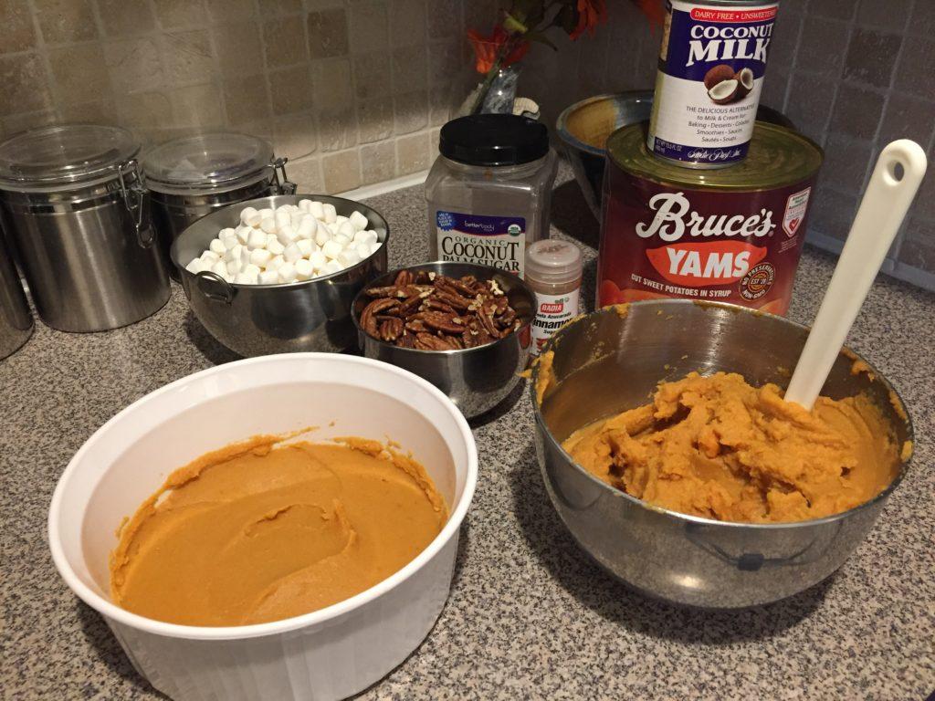 Dairy Free Sweet Potato casserole ingredients