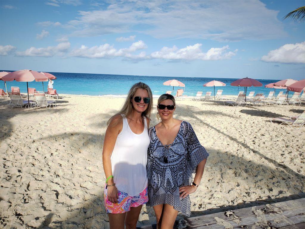 Alea and Melanie on Turks and Caicos beach