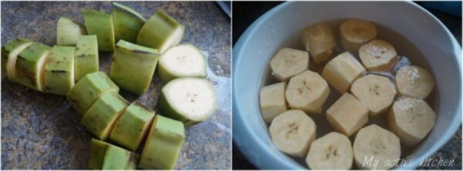 images of raw sliced plantain on kitchen worktop and in a bowl