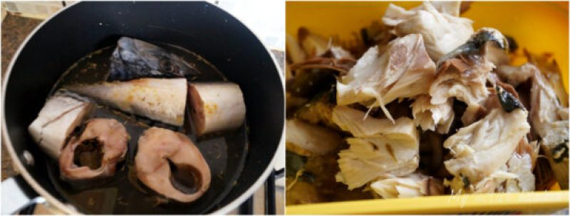 mackerel stake in a pot about to be cooked and the other image had mackerel flakes in a yellow bowl