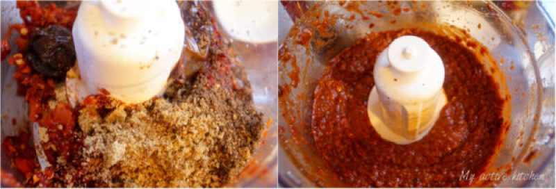 blending spices and charred pepper in a food processor.