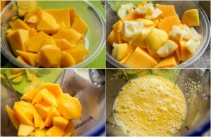 process shot of making mango lemonade