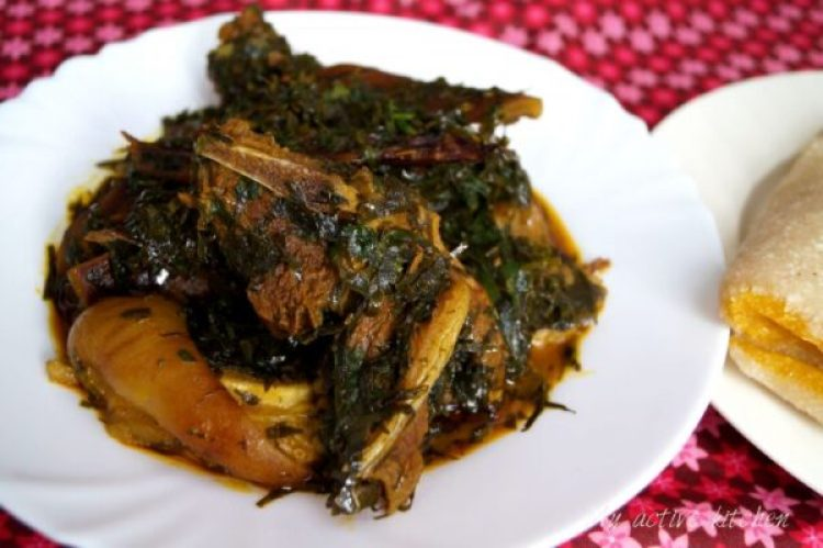 afang soup with bokoto and catfish fillet