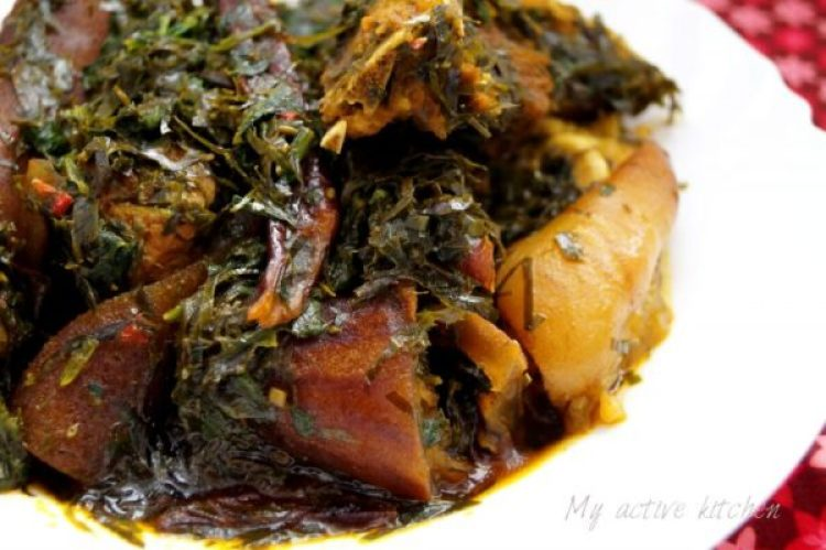 afang soup with assorted meat and goat meat