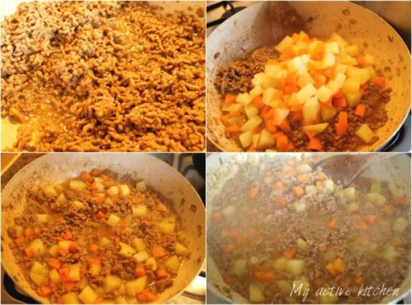 beef mince filling made in stages.