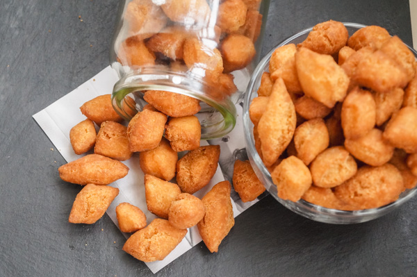 overhead shot of nigerian snacks