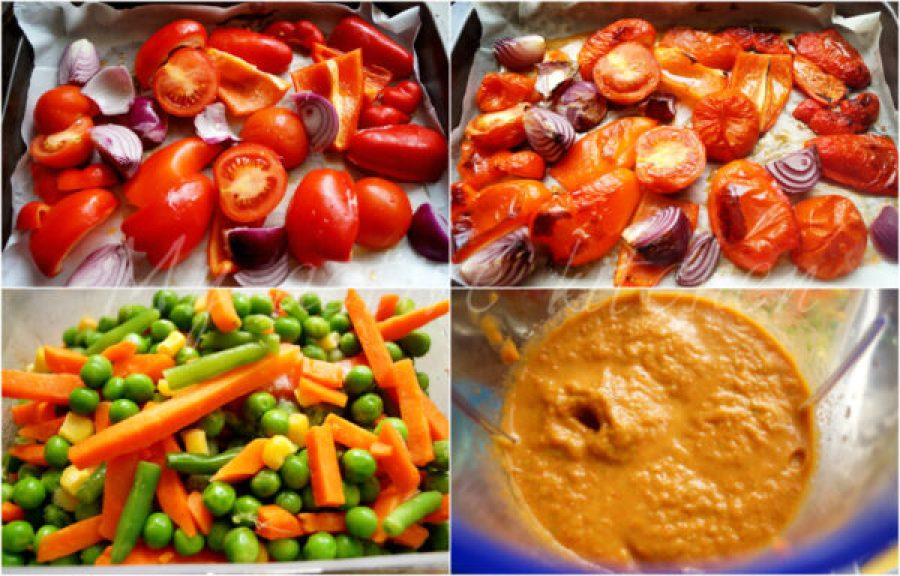 roasted peppers in baking tray and another image of the roasted pepper blended with mixed vegetable