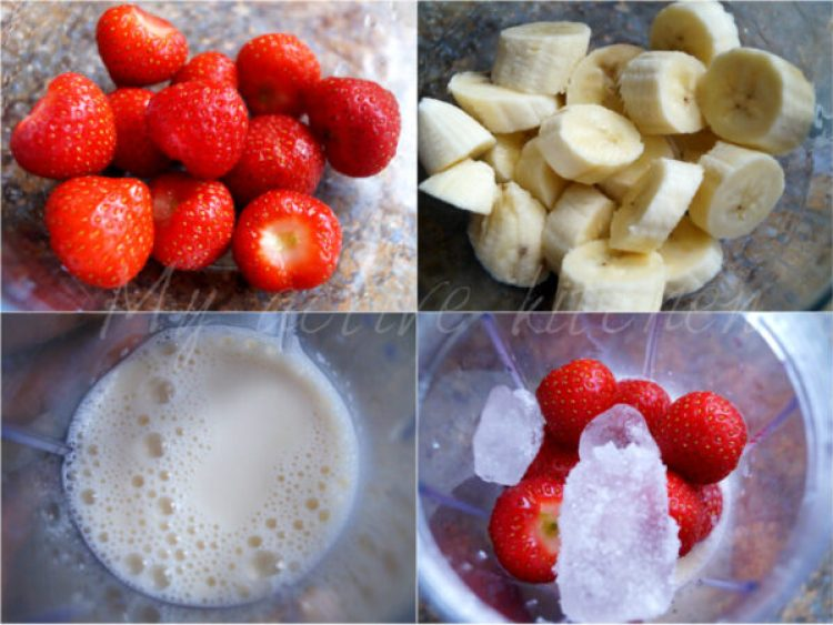 process shot of making Banana and strawberry smoothie.