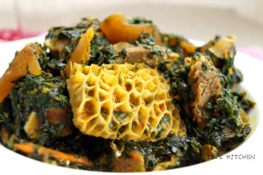 Image of edikaikong loaded with honeycomb shaki, goat meat and ponmo