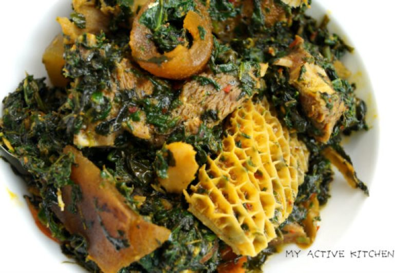 Nigerian vegetable soup with assorted meat