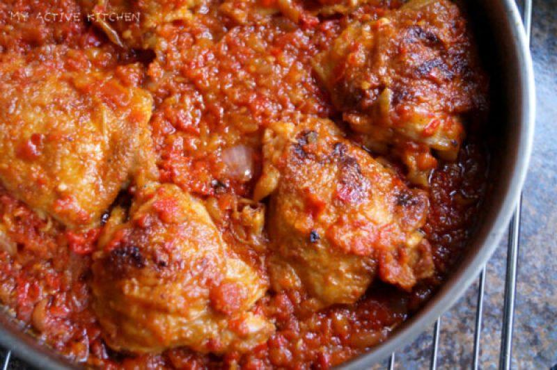 overhead shot roasted garlic chicken stew