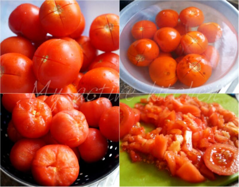 process shot of how to peel tomato in hot water.