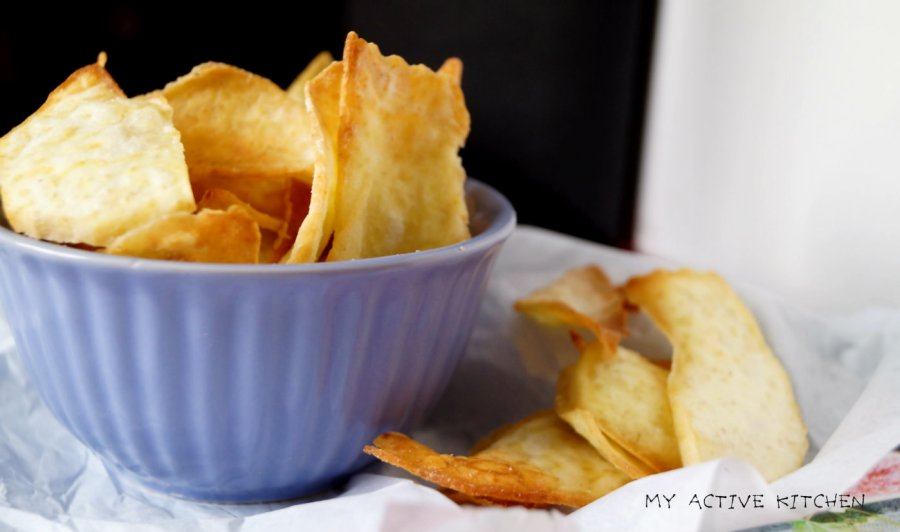 baked yam chips on parchment