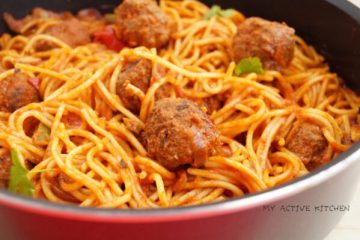 spaghetti jollof recipe. suya meatballs