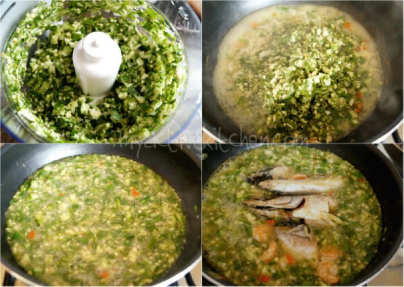process shots of making oil less okra dish