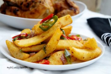 image of salt and pepper chips and baked chicken on the side