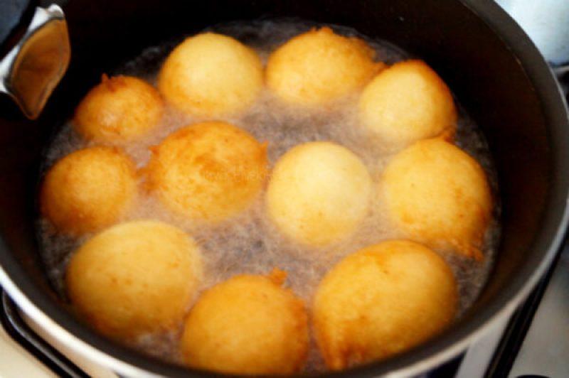 process shot of frying