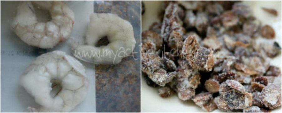 images of three raw shrimps and frozen locust beans