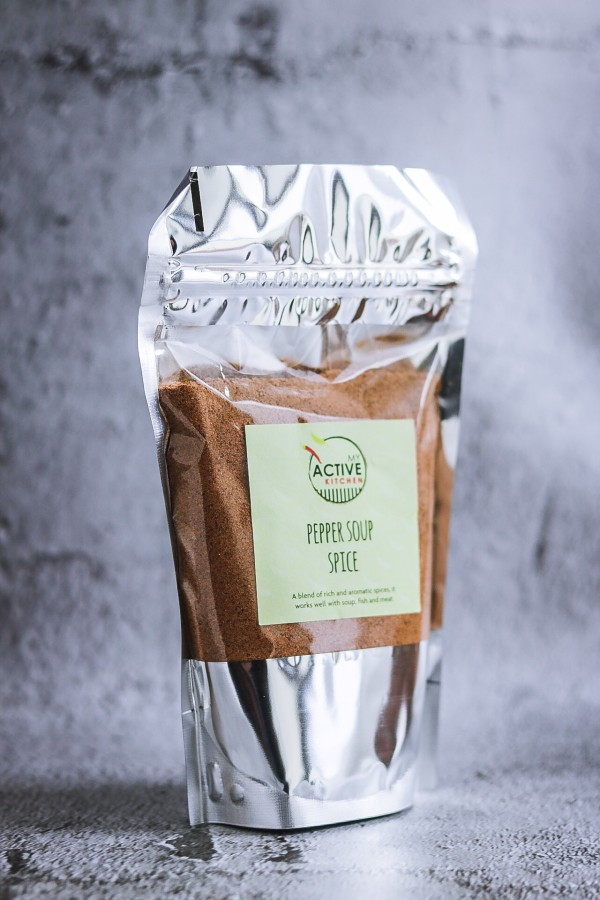 Nigerian pepper soup spice in a pouch.