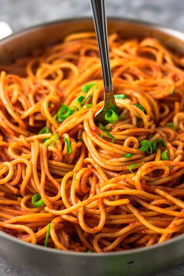 simple spaghetti recipe cooked in tomato sauce.