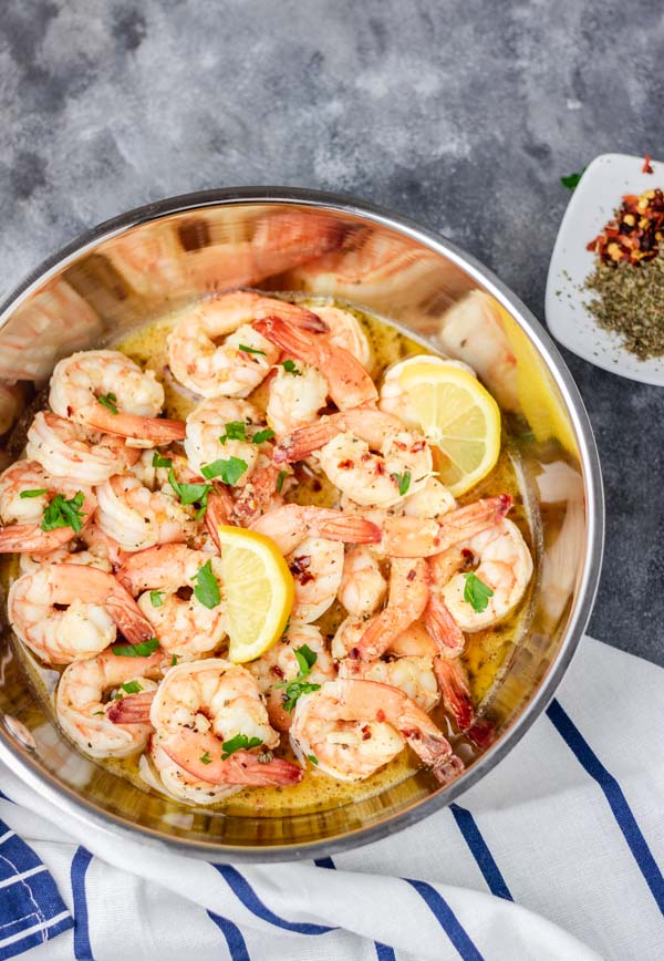 overhead shot of garlic butter shrimp in a pan